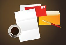 Letter And Cup Of Coffee. Stock Images