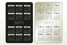 Free Two Calendar Designs For 2011 (sun-sat) Royalty Free Stock Photography - 16331427