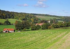An English Rural Landscape With Hamlet Royalty Free Stock Photos