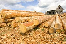 Woodpile In Field And House Royalty Free Stock Image