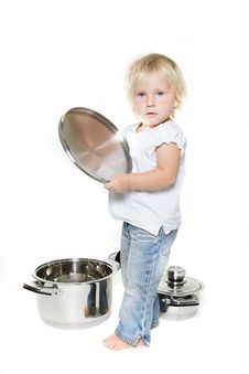 Free Young Cute Girl With Pots Stock Photo - 16334270