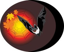 Bat With Maple Leaves And Spider. Halloween Royalty Free Stock Image