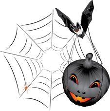Free Bat With Pumpkin. Halloween Stock Photos - 16335363