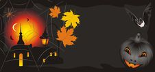 Free Pumpkin With Maple Leaves And Bat. Halloween Royalty Free Stock Image - 16335366