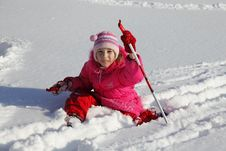 Girl On Skis Royalty Free Stock Photography