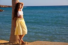 Free Woman Is Standing Near The Palm Tree Stock Image - 16335941
