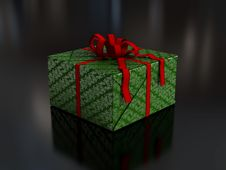 Present In Green Wrapping Paper Royalty Free Stock Image