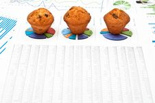 Three Cakes And Charts Stock Photography