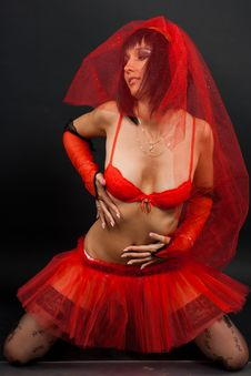 Free Beautiful Bride In Red Dress Stock Photos - 16337373