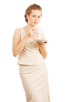 Free Young Woman With Cup Of Tea/coffee Stock Image - 16338231