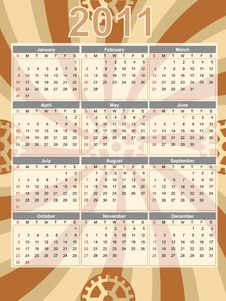 Gear Theme 2011 Brown Swirl Calendar Stock Images