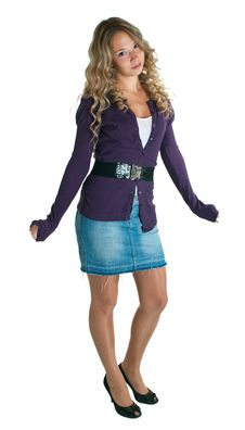 Girl In A Lilac Shirt And Jeans Skirt Royalty Free Stock Photos