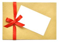 Letter With Red Ribbon Royalty Free Stock Image