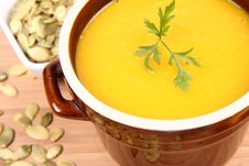 Free Pumpkin Soup Adn Seeds Stock Photo - 16339530