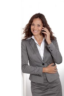 Smiling Businesswoman On White Background Stock Photography