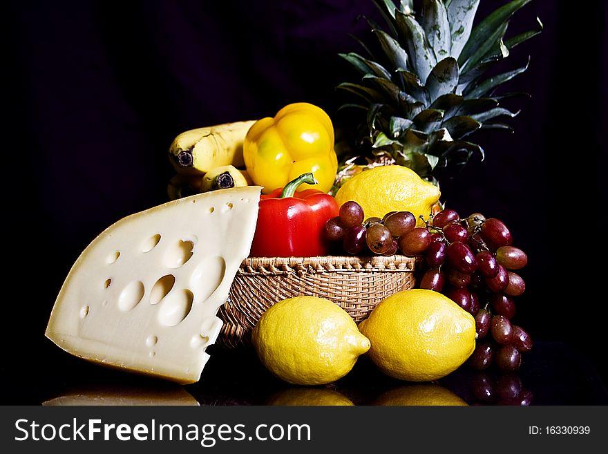 Pineapple cheese still life