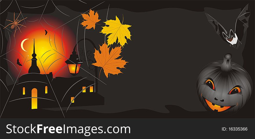 Pumpkin with maple leaves and bat. Halloween