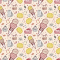 Free Seamless Ice Cream Pattern Stock Photos - 16344013