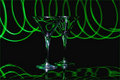 Free Green Light Trails On Pair Of Martini Glasses Stock Images - 16344824
