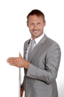 Free Smiling Businessman In Grey Suit Stock Photography - 16340092