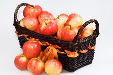 Free Basket With Red Apples Stock Image - 16340261