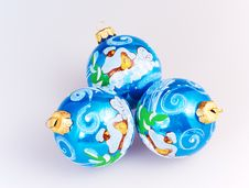 Free Christmas Blue Spheres Royalty Free Stock Photo - 16340265