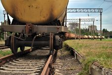 Train Transports Old Tanks Stock Photo