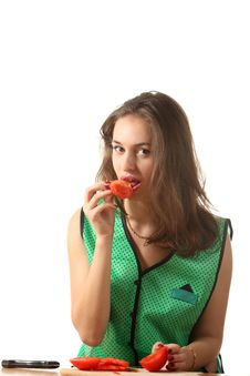 Free Girl Eat Tomato Stock Photography - 16341852