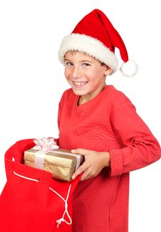 Free Adorable Child With Santa Hat Royalty Free Stock Images - 16341939
