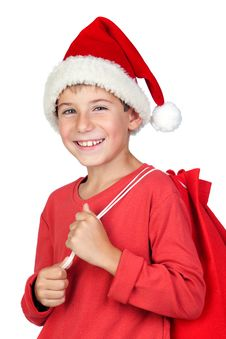 Free Adorable Child With Santa Hat Royalty Free Stock Photo - 16342105