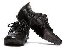 Black Running Womanish Shoe Royalty Free Stock Images