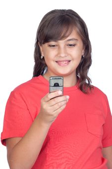 Free Adorable Preteen Girl With A Mobile Stock Photos - 16342933