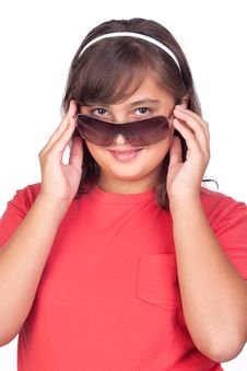 Free Adorable Preteen Girl With Sunglasses Stock Image - 16343491