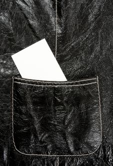 Free Blank Business Card In A Leather Pocket Stock Photo - 16343670