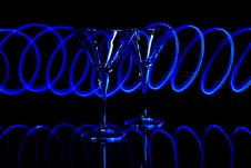 Free Blue Led Light Trails On  Martini Glasses Stock Image - 16344821