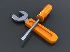Free Wrench And Screwdriver Royalty Free Stock Image - 16345096
