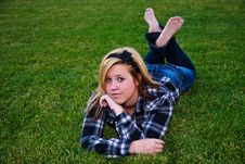 Attractive Teenage Girl Enjoying Outdoor Setting Stock Photo