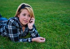 Free Attractive Teenage Girl Talking On A Cell Phone Stock Photography - 16345182