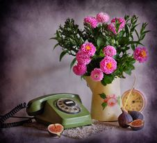 Free Still Life With A Telephone And Flowers Stock Image - 16346361