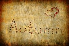 Free Autumn Letters And Heart Shape Made By Leaves Royalty Free Stock Images - 16347019
