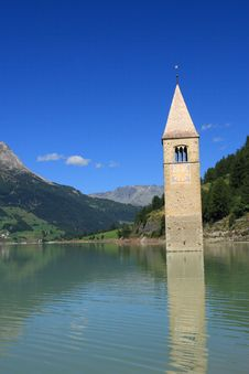 Free Passo Resia - Curon Bell Tower Royalty Free Stock Images - 16347289