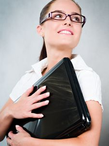 Free Young Businesswoman With Laptop Stock Photo - 16349000