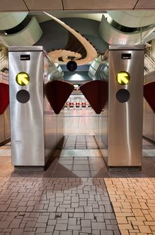 Free Train Station Turnstiles Vertical Stock Photo - 16349470