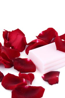 Free Pink Soap With Rose Petals Royalty Free Stock Photo - 16349645