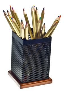 Free Multi-colored Pencils In Cup Royalty Free Stock Images - 16349719