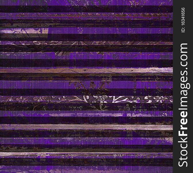 Antique purple wood scroll print