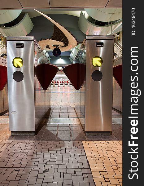 Train Station Turnstiles Vertical
