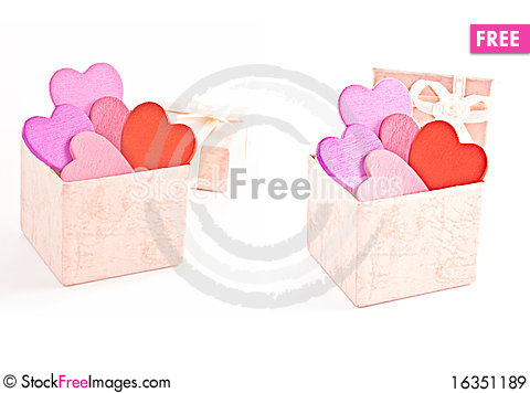 Free Wooden Heart-shaped Pink Color Gift Box Royalty Free Stock Images - 16351189