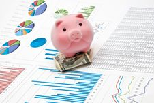 Free Piggy Bank And Charts Royalty Free Stock Photography - 16350087