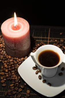 Candle And The Cup Of Coffee. Stock Photography